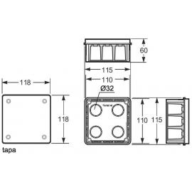 Caja empalme cuadrada 100x100 Fij. garras 3201 Famatel