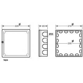 Caja empalme cuadrada 200x200 Fij. garras 3204 Famatel