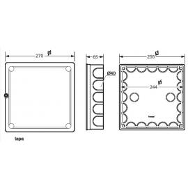 Caja empalme cuadrada 250x250 Fij. garras 3205 Famatel