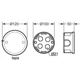 Caja empalme redonda 50x100 Fij. garras 3211 Famatel