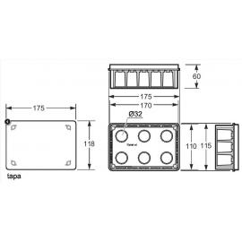 Caja empalme rectangular para pared hueca 160x100 Fij. garra 3252 Famatel
