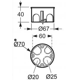 Caja de mecanismos simple 67x39 3255 Famatel