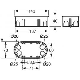Caja de mecanismo doble p/pared hueca 67x135 3256 Famatel