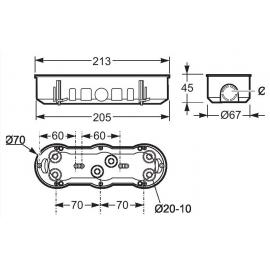 Caja de mecanismo triple p/pared hueca 67x208 3257 Famatel