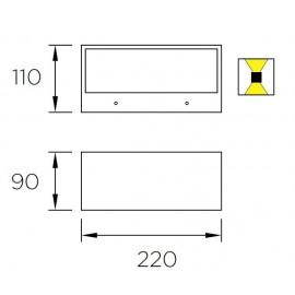 Aplique exterior S. Nemesis E27 Gris urbano 05-9649-Z5-T2 Leds C4