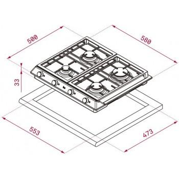 Placa de gas EX 60.1 4G AI AL DR CI  40212210 Teka