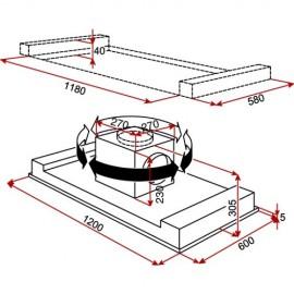 Campana decorativa integrada techo DHT 1285 Inox. 40484180 Teka