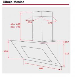 Campana vertical Quadro DLV 998 Negro 40437210 Teka