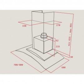 Campana de pared ala de cristal NC 785 Inox. 40455381 Teka