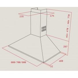 Campana de pared piramidal DBP 60 PRO EEC/EU Inox. 40460509 Teka