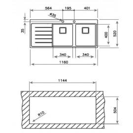 Fregadero de acero inox. ZENIT R15 2C 1E Versión derecha 12139019 Teka