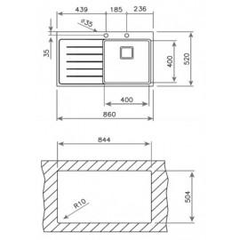 Fregadero de una cubeta y escurridor ZENIT R15 1C 1E 86 versión derecha 12139014 Teka