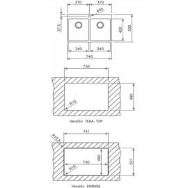 Fregadero de acero inox. FORLINEA R15 2C 740 11138015 Teka