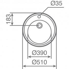 Fregadero encastrado circular CENTROVAL Inox. 10111004 Teka