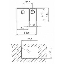 Fregadero de acero inox. BE LINEA R15 2C 580 10125167 Teka
