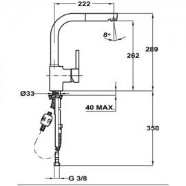 Grifo de cocina extraíble caño alto ARK 939 Negro 23938120N Teka