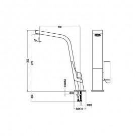 Grifo de cocina caño plano giratorio IC 915 Cromo 339150200 Teka