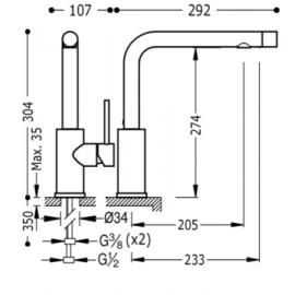 Grifo de cocina de caño vertical Tres