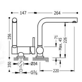 Monomando fregadeo vertical abatible 130335  Tres
