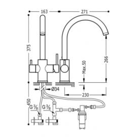 Grifo de cocina vertical ECOSMOSIS 03035501 Tres