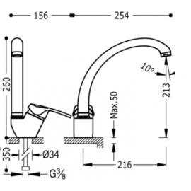 Grifo de cocina vertical 17044102 Tres