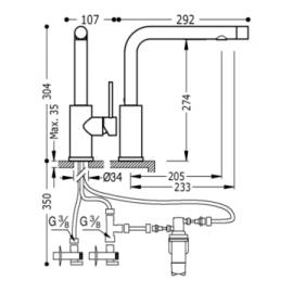 Grifo de cocina vertical 162453 Tres