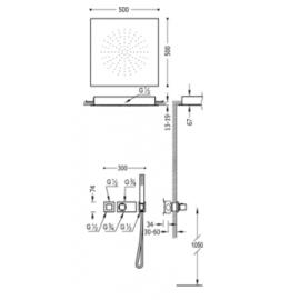 Kit de ducha termostático empotrado BLOCK SYSTEM 20725208 Tres
