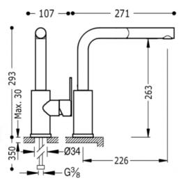 Grifo de cocina vertical 181437 Tres