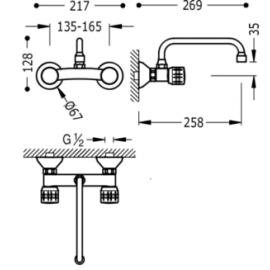 Grifo de cocina pared 123315 Tres