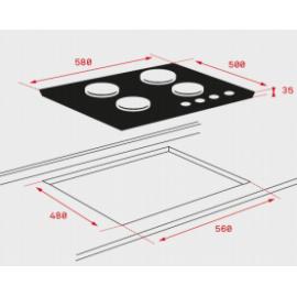 Placa de cristal a gas HF LUX 60 3G AI AL TR CI 40229291 Teka