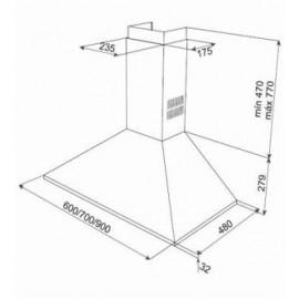 Campana extractora de pared piramidal Inox DBB 70 40460420 Teka