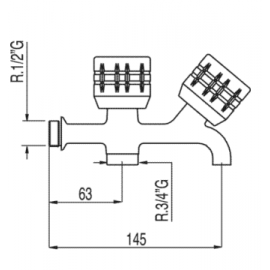 Grifo para lavadora doble 123515 Tres