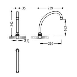 Grifo de cocina de caño vertical en U 112441 Tres
