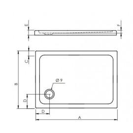 Plato de ducha acrilico Modelo practic 120 x 90 Cuadrado CABEL