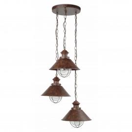 Lámpara de aplique marrón y cobre Náutica 3L Faro