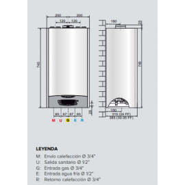 Caldera Clas One 24 kw Gas Natural AristonKit con salida de humos y valvulería