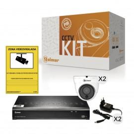 KIT-2DHVR1P con DVR y dos domo PIR Golmar